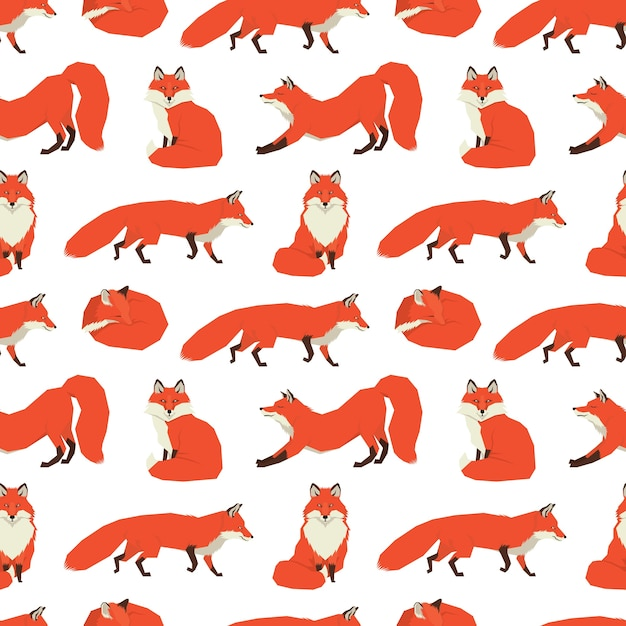 Wild animals collection red foxes background Free Vector