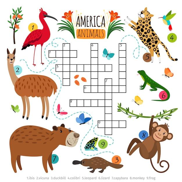 Wild animals crossword puzzle Premium Vector