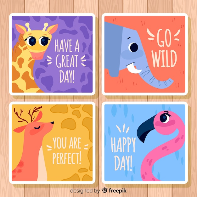 Wild animals greeting card collection. happy day Free Vector