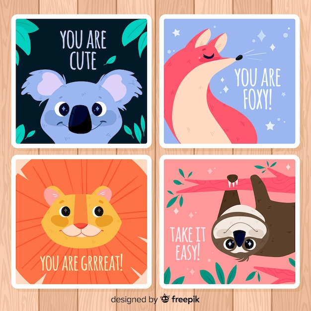 Wild animals greeting card collection. you are cute Free Vector