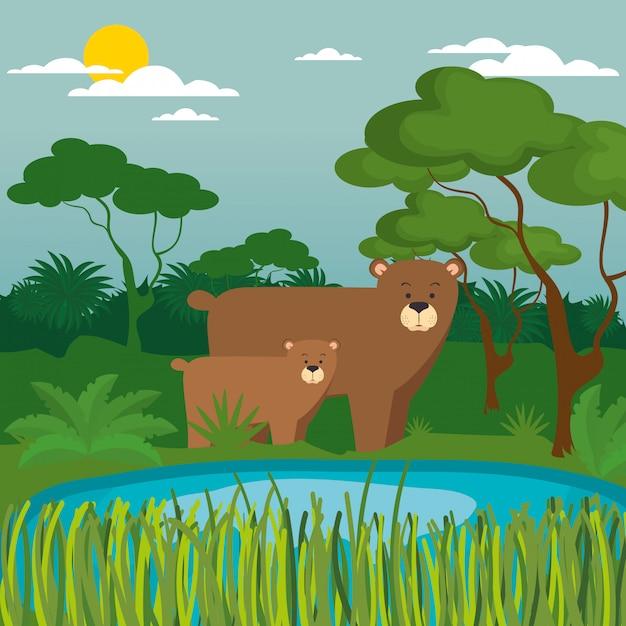 Wild animals in the jungle scene Free Vector