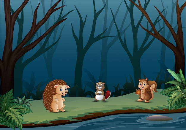 Wild animals living in the dry forest Premium Vector