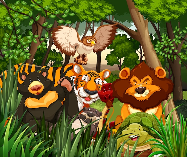 Wild animals living in the jungle Free Vector