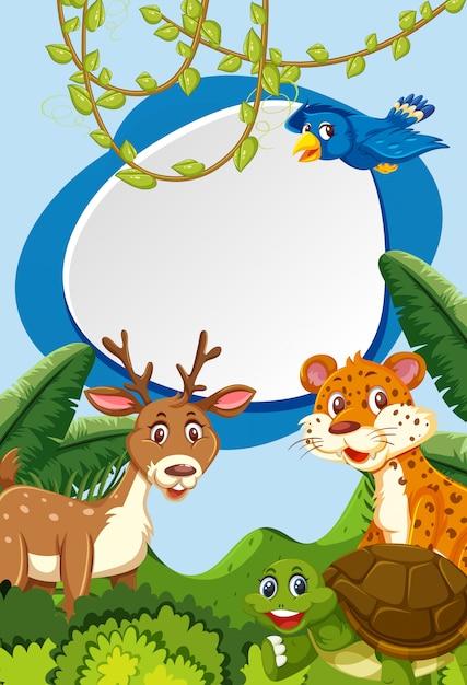 Wild animals in nature frame Premium Vector