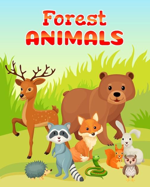 Дикие животные на опушке леса. Бесплатные векторы