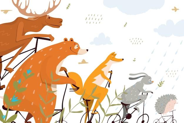 野生動物やサーカスの面白いデザイン Premiumベクター