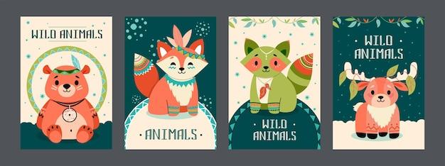 野生動物のポスターセット。フレンドリーな漫画のクマ、キツネ、アライグマ、自由奔放に生きるスタイルの装飾が施されたムース 無料ベクター