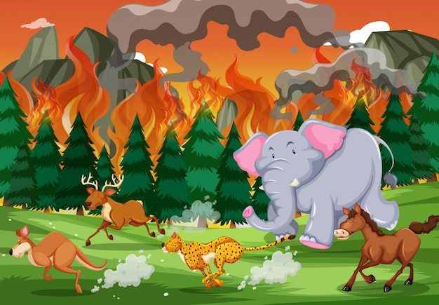 Wild animals run away from wildfire Free Vector