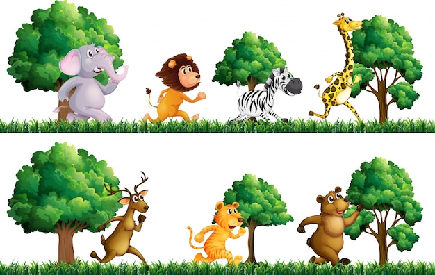 Wild animals running in the field\ illustration