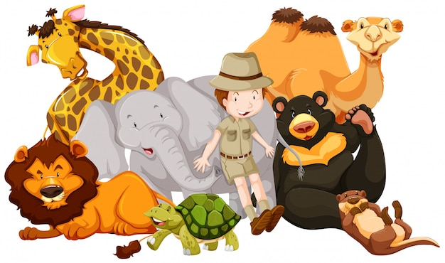 Wild animals and safari kid Free Vector