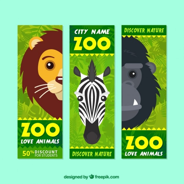 Wild animals sale banners to visit zoo Free Vector