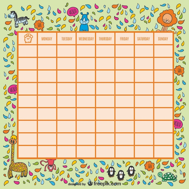 Wild animals school timetable Vector – School Time Table Designs