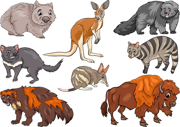 Wild animals set cartoon illustration Premium Vector