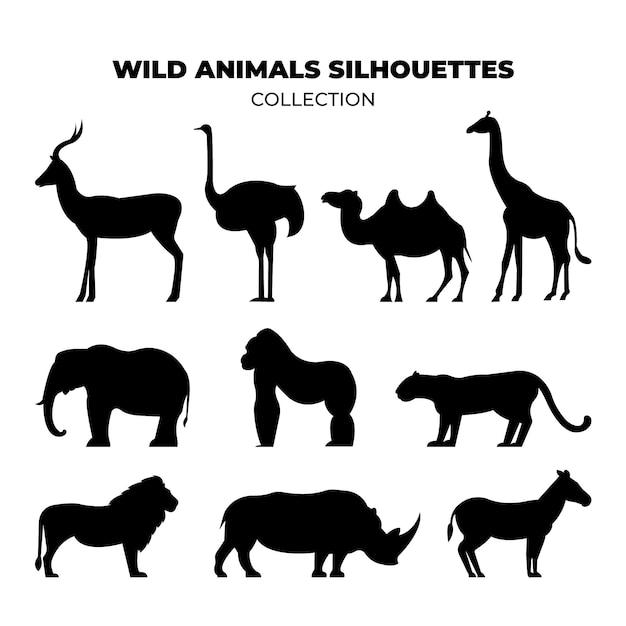 Силуэты диких животных Premium векторы