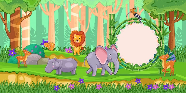 Wild animals with a blank sign bamboo in the forest Premium Vector
