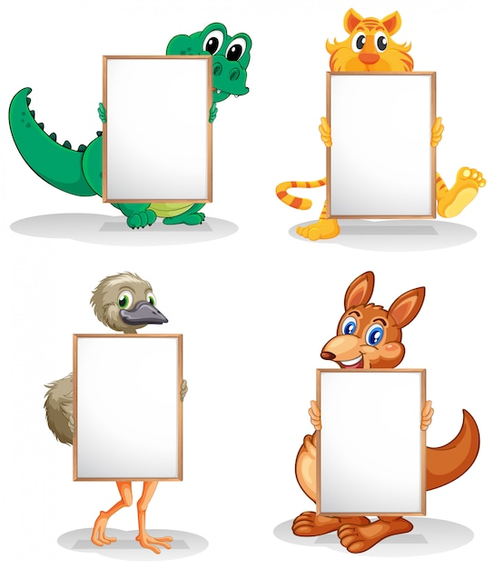 Wild animals with empty bulletin boards Free Vector