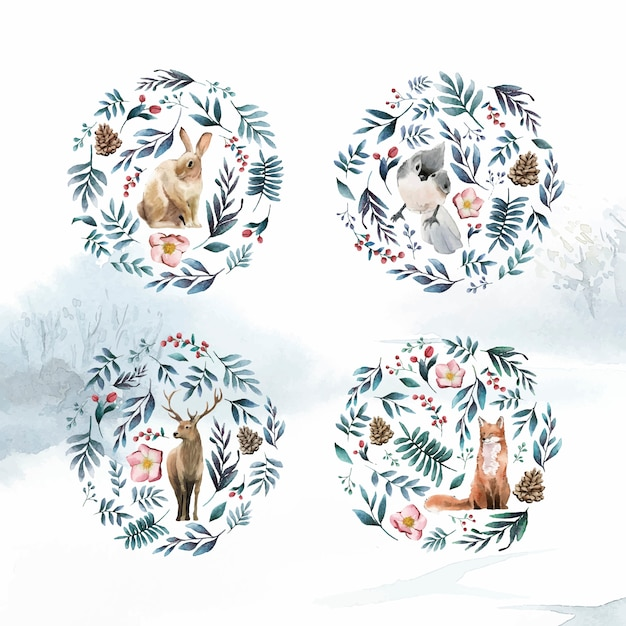 Wild animals with flowers and leaves painted by watercolor Free Vector