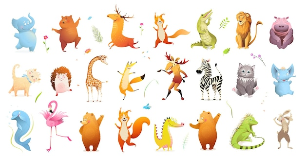 Wild baby animals big clipart collection of wildlife illustration. Premium Vector