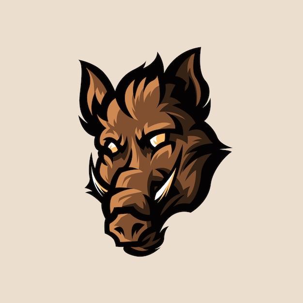 Wild boar esports logo illustration Premium Vector
