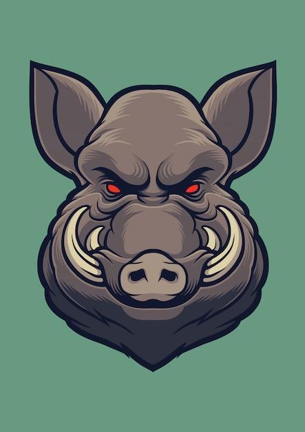 Wild boar head vector Premium Vector