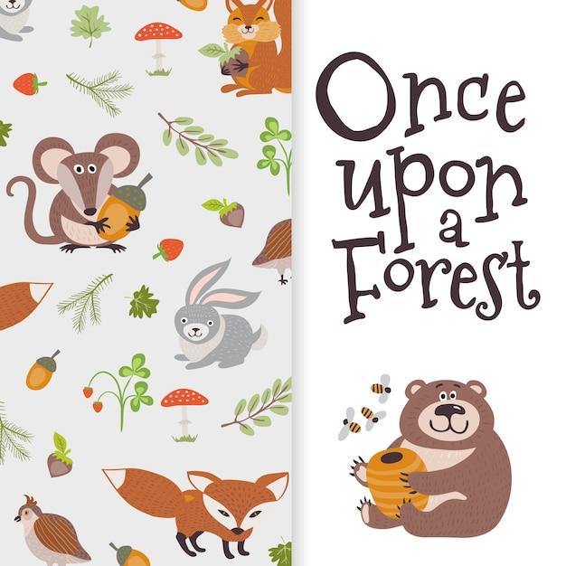 Wild cartoon animals banner. cute bear, fox, mouse, rabbit Premium Vector