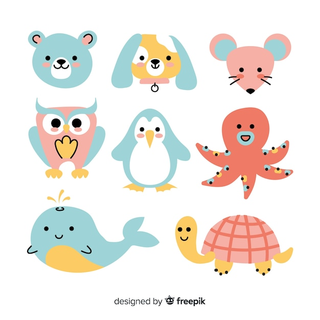 Wild colorful animal collection Free Vector