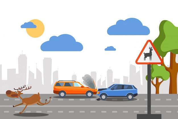 Авария диких оленей на дороге e иллюстрации. автомобили сталкиваются возле знака, предупреждающего движение лесных животных. испуганный бег оленей Premium векторы