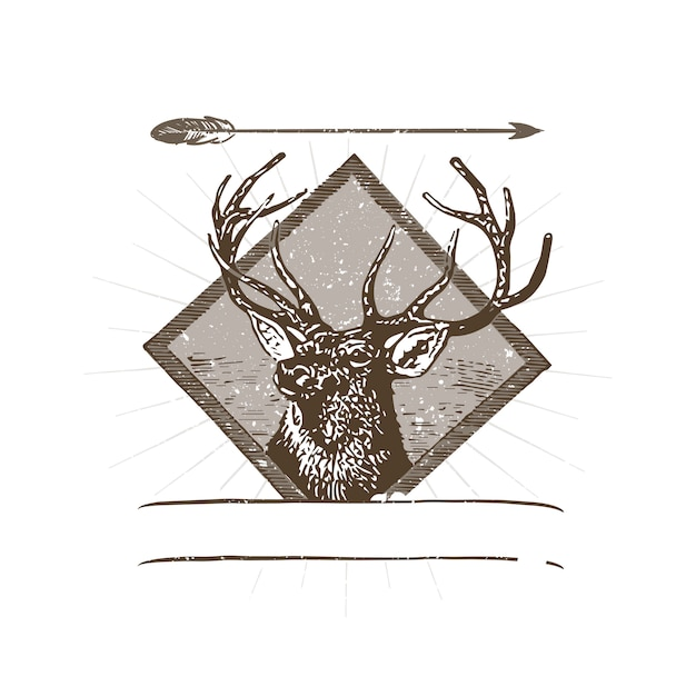 Wild deer logo illustration Free Vector