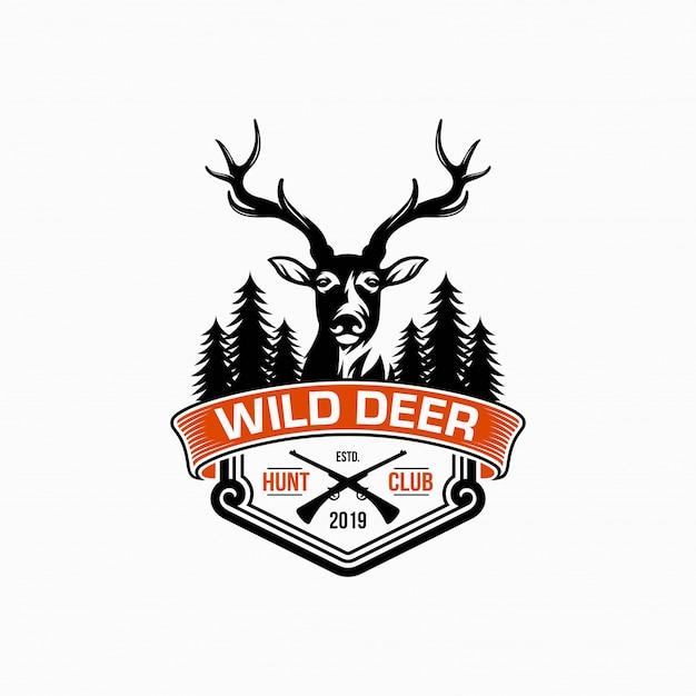 Wild deer vintage logo design vector template Premium Vector