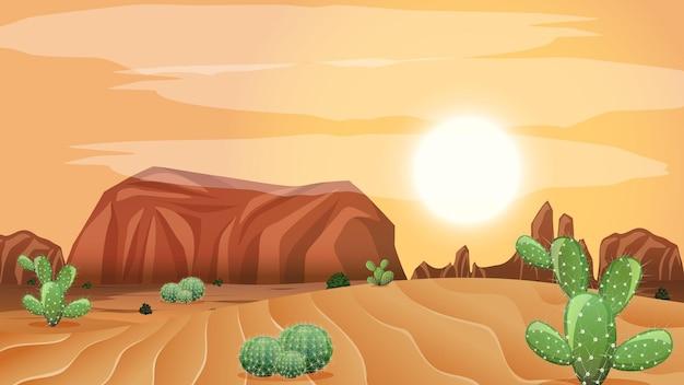 昼間のシーンで野生の砂漠の風景 無料ベクター