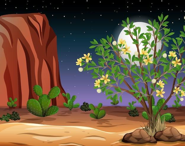 夜景の荒野砂漠風景 無料ベクター