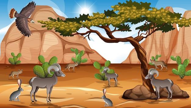 Paesaggio selvaggio del deserto alla scena diurna Vettore gratuito