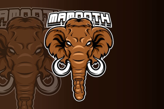 電子スポーツゲームのロゴの野生の象のマスコットのロゴ Premiumベクター