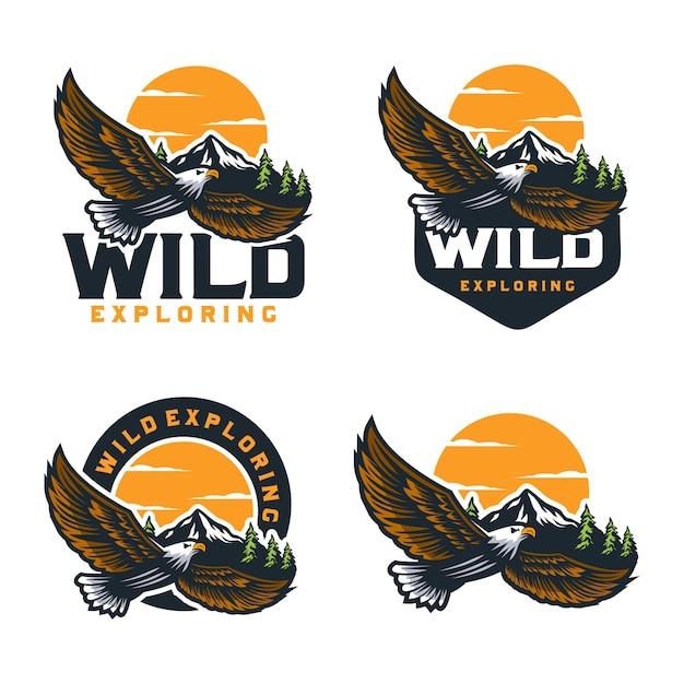 野生の探索屋外ロゴデザインテンプレート Premiumベクター