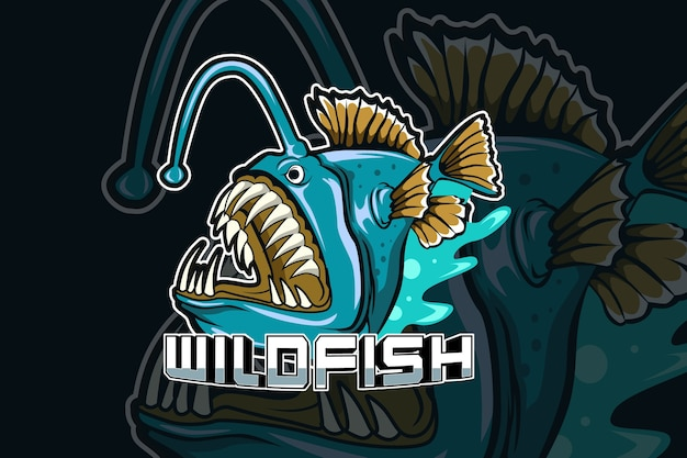 Wild fish predator e-sports team logo template Premium Vector