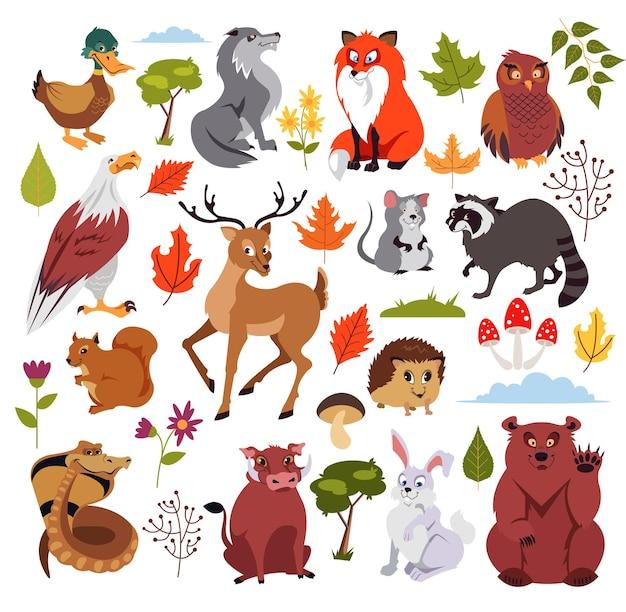計画、キノコ、木が設定された野生の森の動物のキャラクター。子供向けの本のグラフィック。孤立した漫画イラスト Premiumベクター