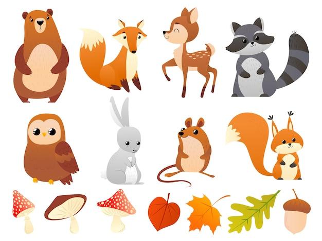野生の森の動物 Premiumベクター