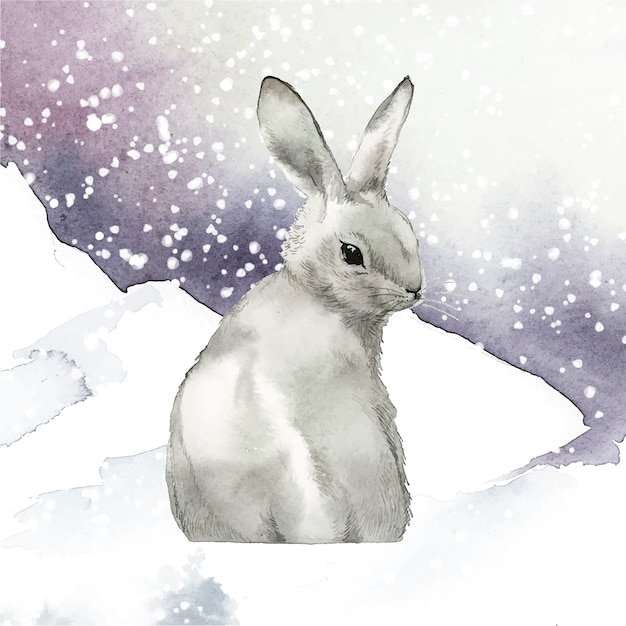 Wild gray rabbit in a winter wonderland Vector | Free Download