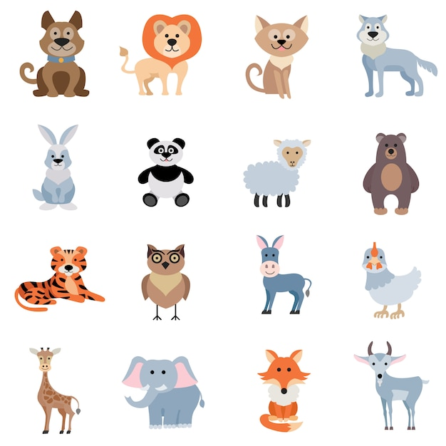 Wild and home animals set Free Vector