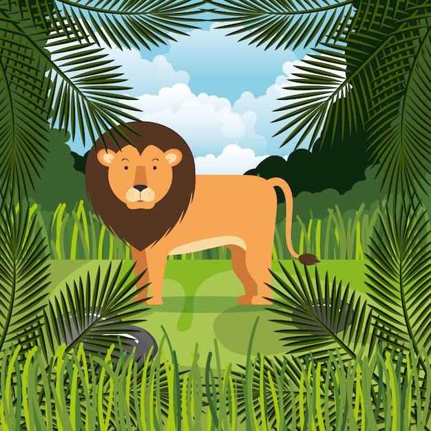 Wild lion in the jungle scene Free Vector