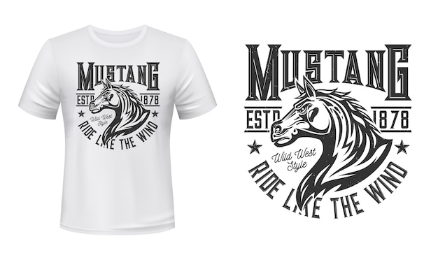 Wild mustang stallion t-shirt  print. horse stallion head with waving mane illustration and typography. wild west horse riding, equestrian or racing club clothing custom print Premium Vector