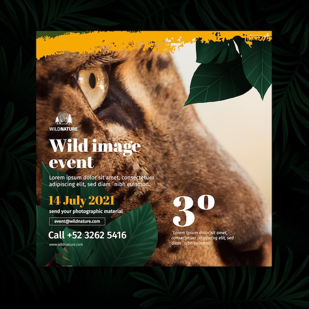 Wild nature flyer square Free Vector