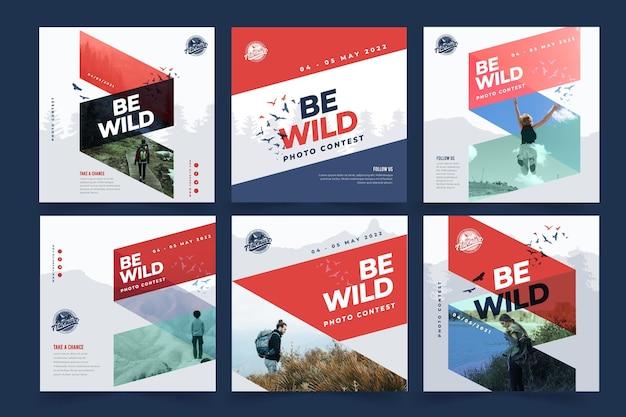 野生の自然のinstagramの投稿コレクション Premiumベクター