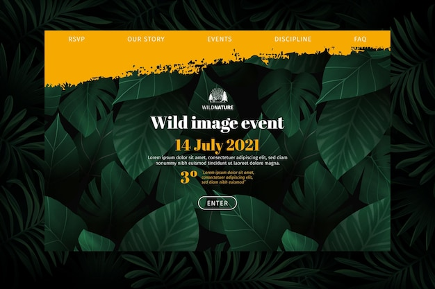Wild nature landing page Free Vector