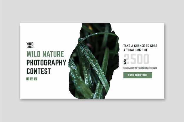 Banner di concorso fotografico natura selvaggia Vettore gratuito