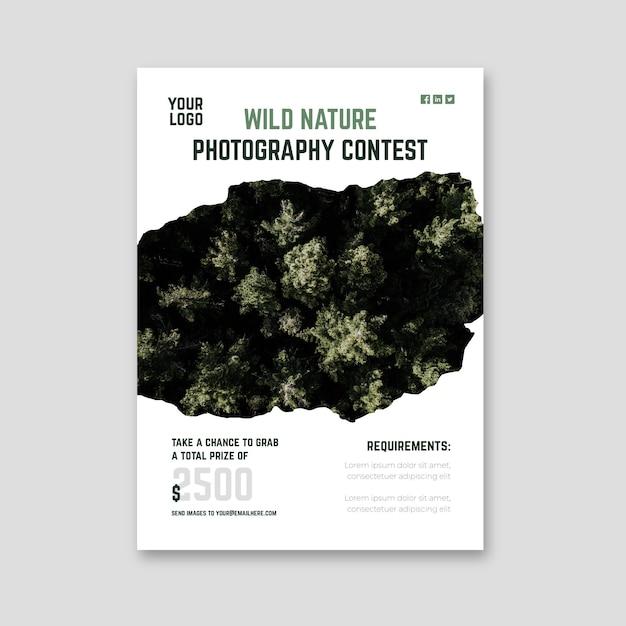 Modello di stampa volantino concorso fotografico natura selvaggia Vettore gratuito