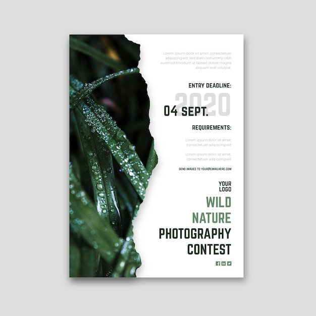Wild nature photography contest flyer Free Vector