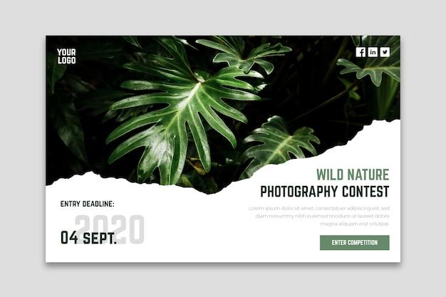 야생의 자연 사진 콘테스트 방문 페이지 무료 벡터