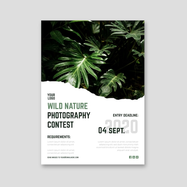 Wild nature photography contest poster Premium Vector