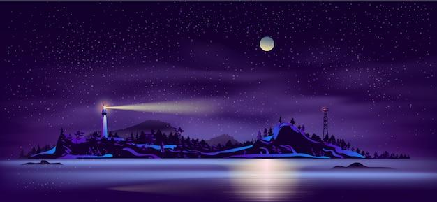 Wild northern island coastline cartoon vector Free Vector